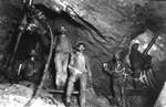 Rock drillers at 600 feet level, Sons of Gwalia Gold Mine