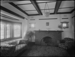101834PD: Lounge room with brick fireplace, 1932